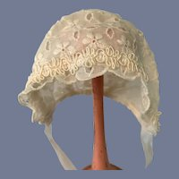 Cloth Embroidered White Doll Bonnet