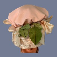 Extra Large Pink and Lace Doll Bonnet
