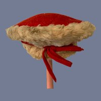 Red Felt and White Fur Doll Cap