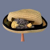 White Straw Doll Hat with Black Details and Flowers