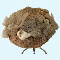 Small Lace Covered Straw Doll Hat
