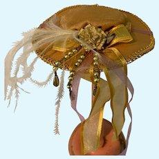 Beige Flat Brim Doll Hat