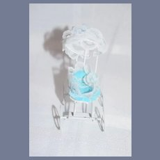 Miniature Metal Doll Stroller with Lace and Blue Basket