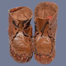 Nice Brown Leather Doll Moccasins