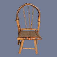 Vintage Individual Bamboo and Wicker Doll Chair