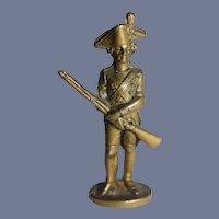 Miniature Metal Soldier Statue Holding Gun