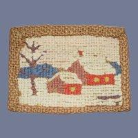 Small Woven Dollhouse Landscape Scene Rug