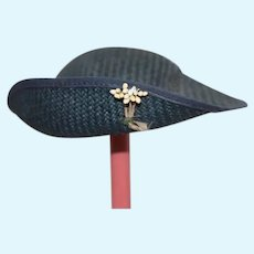 Blue Dyed Straw Doll Hat