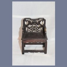 Old Carved Wood Doll Chair Ornate Oriental