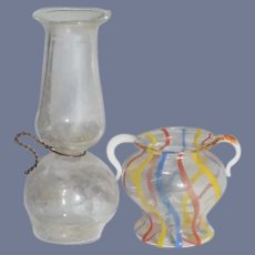 Two Miniature Glass Dollhouse Vases