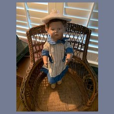 Antique Walking Schoenhut Wood Carved Jointed Doll Walker Adorable Character