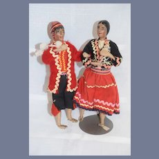 Pair of Man and Woman Cloth and Wire Dolls