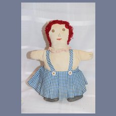 Red Hair Cloth Doll with Plaid Dress