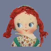 Knickerbocker Printed Face Rag Doll with Yarn Pigtail Braids
