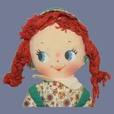 Knickerbocker Printed Face Rag Doll with Yarn Pigtail Braids