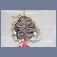 Large Lavender Doll Bonnet with Feathers Ribbons and Lace
