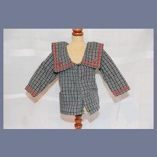 Anita Adler Plaid Doll Jacket with Red Trim
