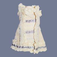 White and Purple Cloth and Lace Doll Dress.