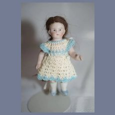 Miniature All Bisque Doll in Knit Dress