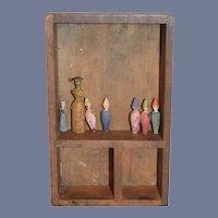 Folk Art Shelf with Wood Carved Figures