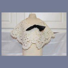 """Teena Brown"" Nice White Embroidered Doll Shawl"
