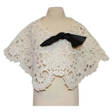 """Teena Brown"" Nice White Embroidered Doll Shawl"