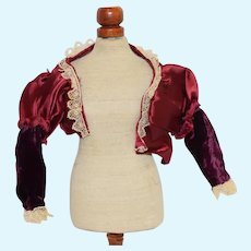 Red Silk Doll Jacket with Lace Detail