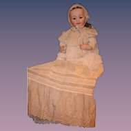 Antique Doll Bisque Morimura Brothers In Christening Gown