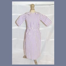 White and Purple Striped Cotton Doll Dress