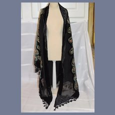 Wonderful Vintage Peacock Beaded Sequins Fringe Black Beads Wonderful Shawl