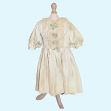 Old Doll Dress W/ Velvet Bows and Lace Pleated Puffy Sleeves