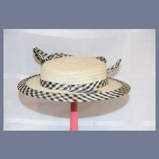 Wonderful Old Doll Straw Hat Bonnet W/ Gingham Taffeta Brim and Bow
