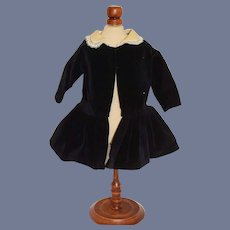 Sweet Vintage Hand Made Velvet Doll Dress with Satin and Lace Collar Drop Waist