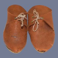 Old Brown Leather Pair of Doll Shoes