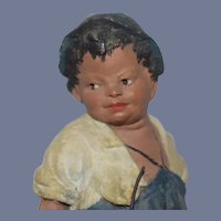 """Small All Bisque Figure Holding Baskets Marked """"MITAI"""" and """"MARSAL"""""""
