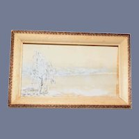 Dollhouse Framed Snowy Landscape Painting