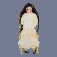 Antique Doll Bisque Head Glass Eyes Closed Mouth