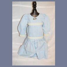 Sweet Hand Made Doll Dress Drop waist W/ Old Brooch