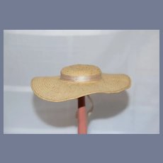 Old Straw Doll Bonnet Hat W/ Wide Brim and Satin Bow Petite Doll