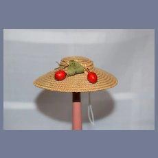 Sweet Vintage Doll Straw Bonnet Hat W/ Fruit Petite Doll