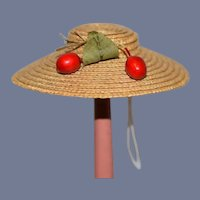 Sweet Vintage Doll Straw Bonnet Hat W/ Fruit Petite Doll