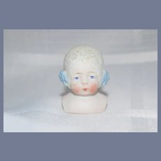 Antique Doll Bisque Bonnet Head German Fancy Molded Lace Bonnet