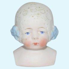 Antique Doll Bisque Bonnet Head German Fancy Molded Lace Bonnet