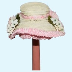 Sweet Doll Vintage Artist Made Straw Bonnet Hat Fancy By Ruth Eagles