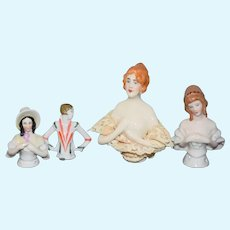 Wonderful Lot of Half Doll Set Porcelain FOUR Dolls China Head