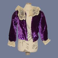 Purple Velvet and White Lace Doll Blouse