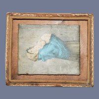 Miniature Dollhouse Framed Painting of a Mother and Her Baby