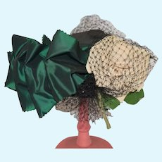 Floral Decorated Green Doll Hat