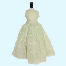 Light Green Doll Gown with Floral Embroidery