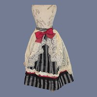 Fancy Striped Doll Skirt with Red Bow and Lace Overlay